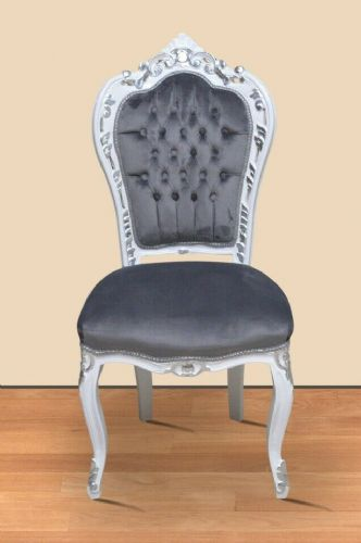 CHAIRS FRANCE BAROQUE STYLE DINING ROYAL CHAIR WHITE-SILVER / GREY #60ST5